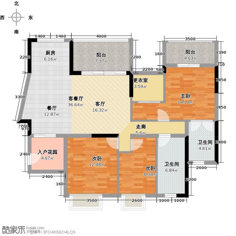 虎门国际公馆117.60㎡户型3室1厅2卫