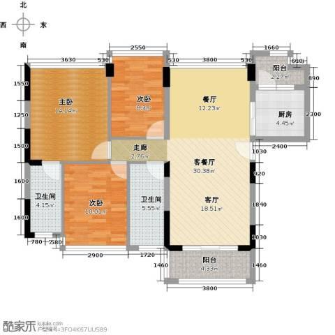 怡安皇庭3室1厅2卫1厨103.00㎡户型图