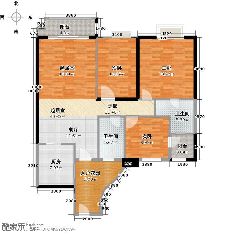 石竹山水园4期131.75㎡户型3室2卫1厨