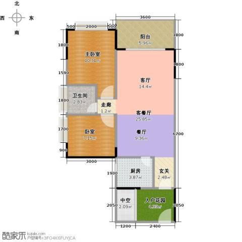 中惠香樟半岛1厅1卫1厨71.00㎡户型图