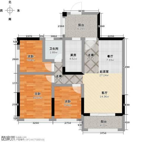 敏捷・金月湾3室0厅1卫1厨93.00㎡户型图