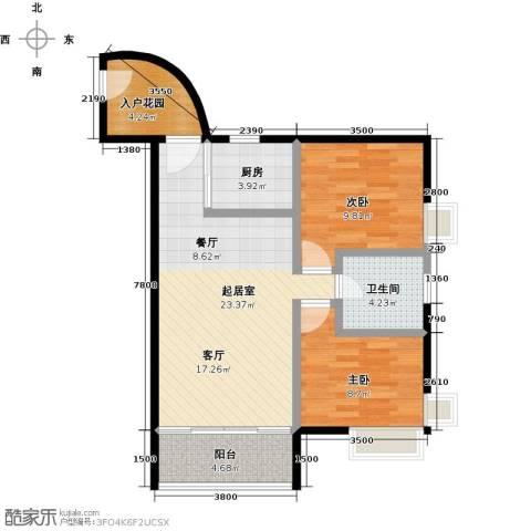 利海假日轩2室0厅1卫1厨73.00㎡户型图