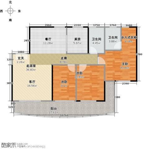 御庭苑3室0厅2卫1厨140.00㎡户型图