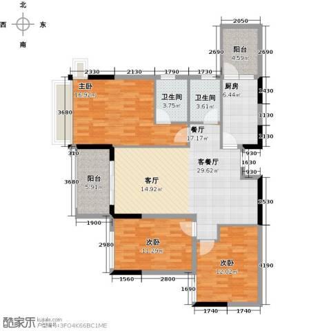 雅居乐御宾府3室1厅2卫1厨121.00㎡户型图