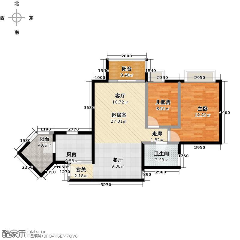 岭南新世界80.00㎡A6栋锦绣04/07户型2室1卫1厨
