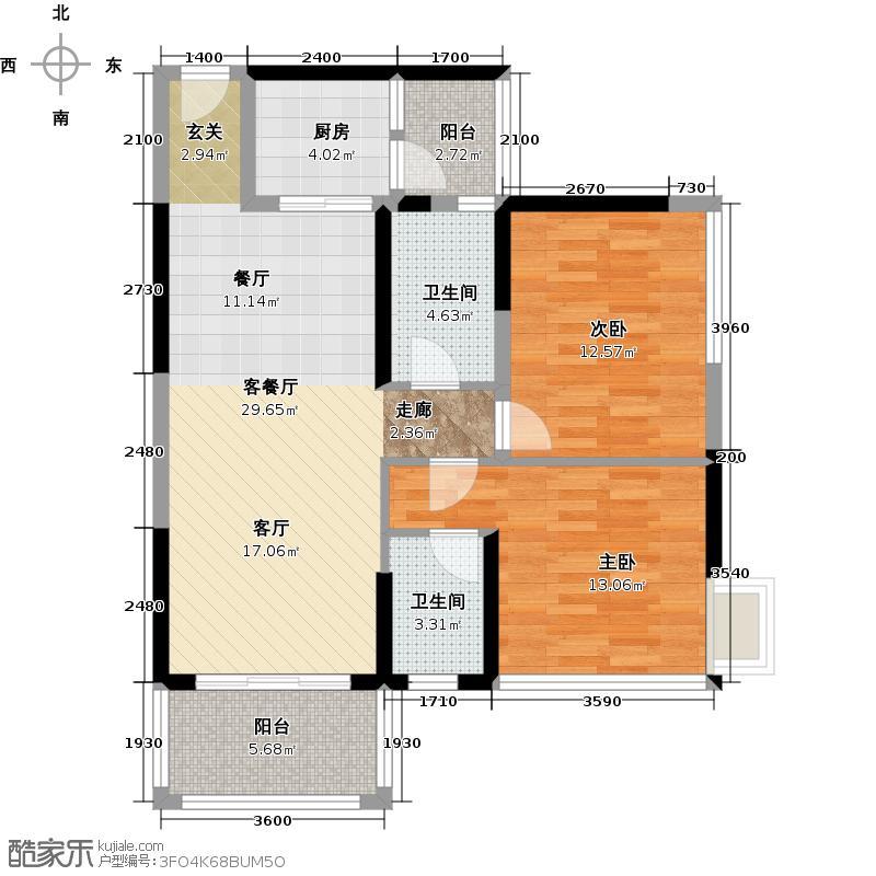 怡安皇庭91.00㎡B户型2室1厅2卫1厨