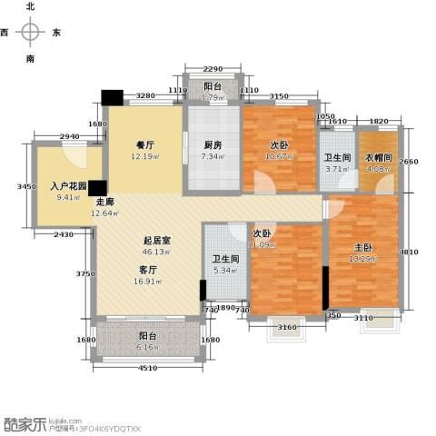 石竹山水园4期3室0厅2卫1厨155.00㎡户型图