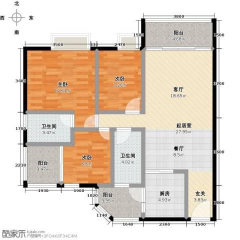 利海假日轩3室0厅2卫1厨101.00㎡户型图
