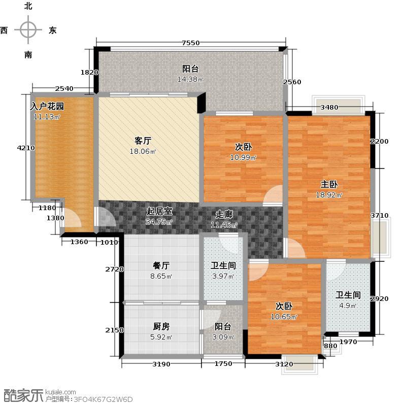 珠光南沙御景132.91㎡4栋04单元户型3室2卫1厨