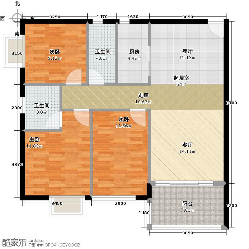 东苑花园95.67㎡户型3室2卫1厨