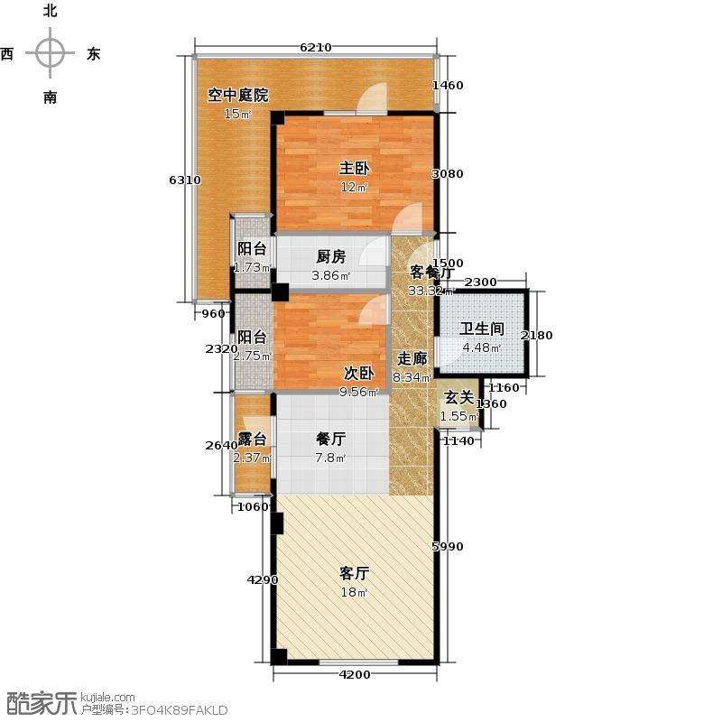 高教新城87.02㎡坡地TownHouse-L-户型2室1厅1卫1厨