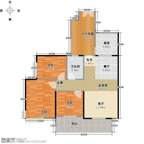 城蕊首府3室0厅1卫1厨120.00㎡户型图