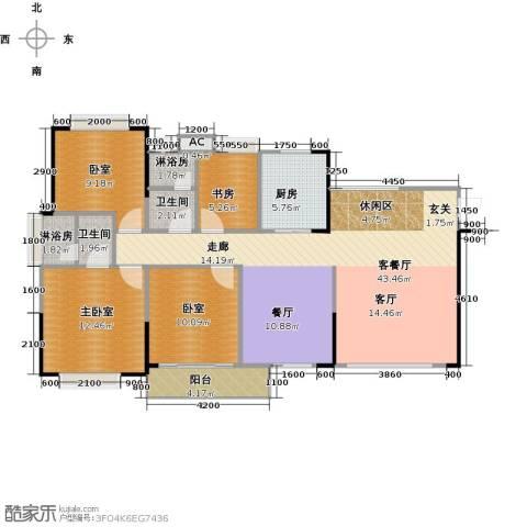 中惠香樟半岛1室1厅2卫1厨98.51㎡户型图