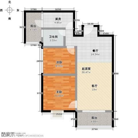 利海假日轩2室0厅1卫1厨83.00㎡户型图