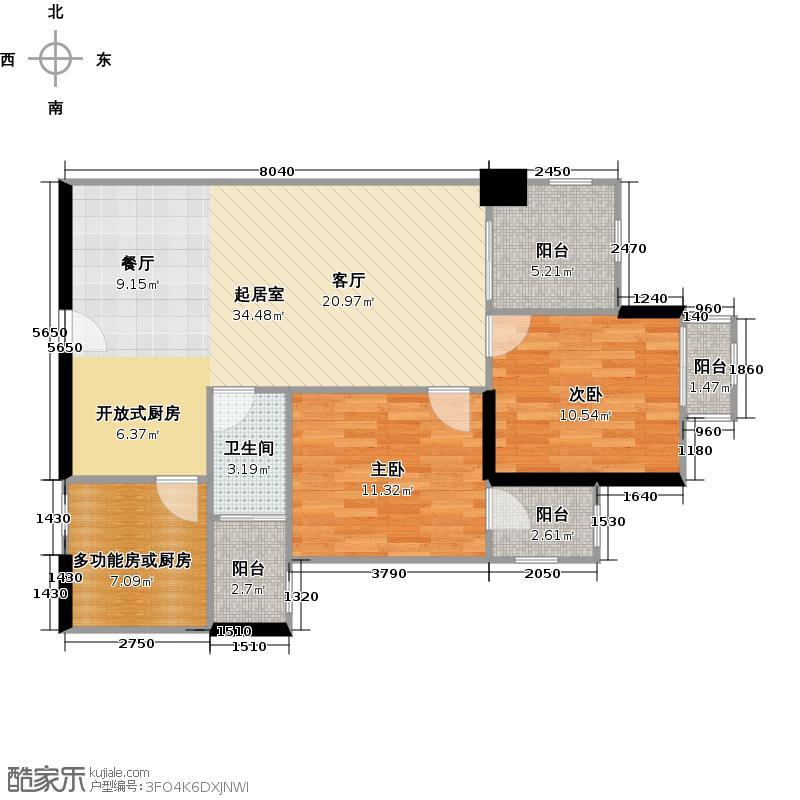 富基广场98.00㎡B1栋8-44层05户型2室1卫