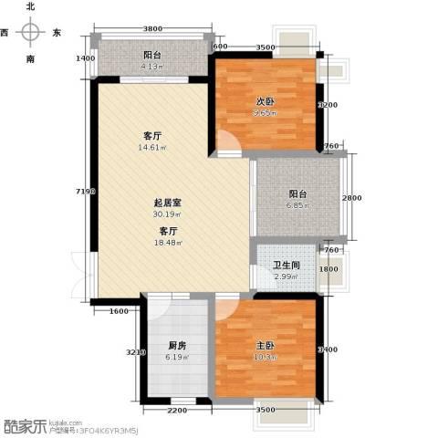 鼎峰尚境2室0厅1卫1厨89.00㎡户型图