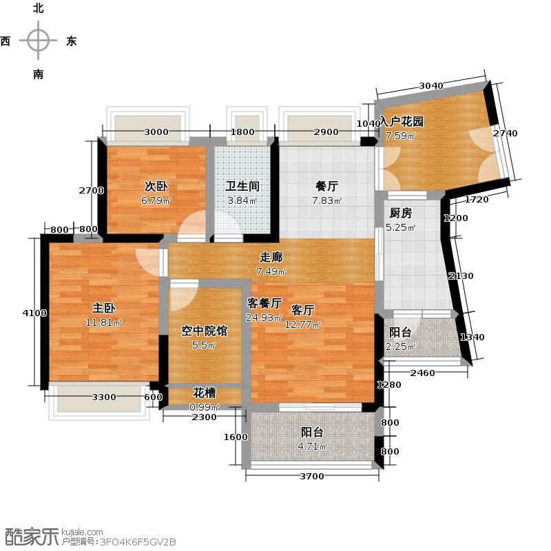香樟国际86.95㎡B户型2室1厅1卫1厨