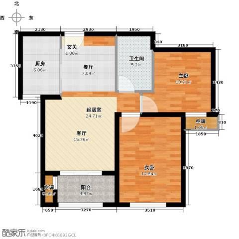 万科金域华府三期2室0厅1卫1厨77.00㎡户型图