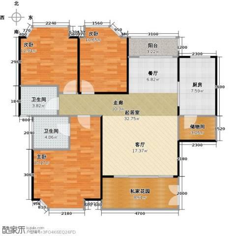 世纪绿洲二期3室0厅2卫1厨139.00㎡户型图