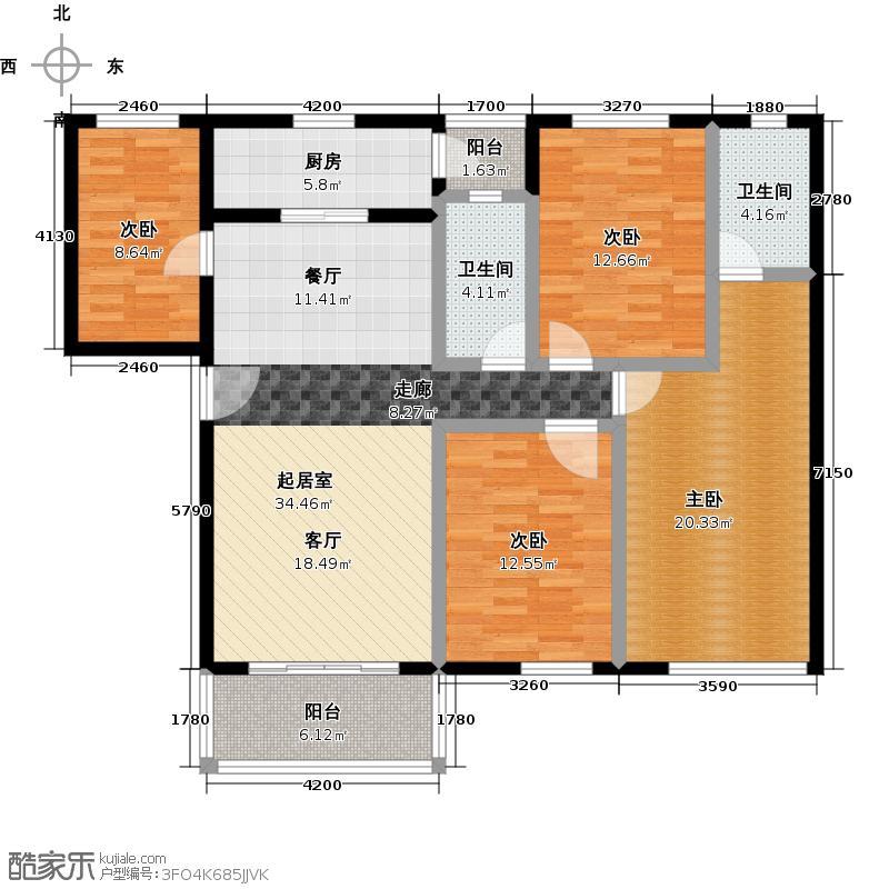 祈福新村122.55㎡23栋2/F-02户型4室2卫1厨