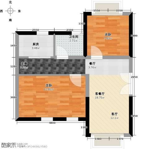 置业广场2室1厅1卫1厨66.00㎡户型图