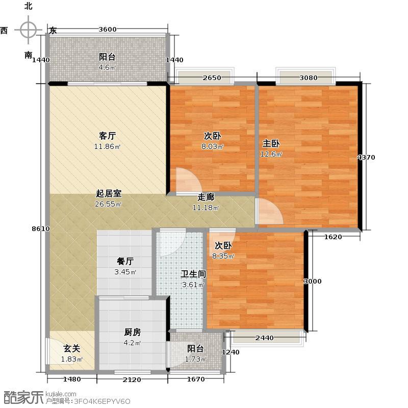 城蕊首府75.68㎡3栋六层C4户型3室1卫1厨