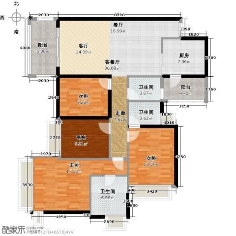 雅居乐御宾府4室1厅3卫1厨144.00㎡户型图