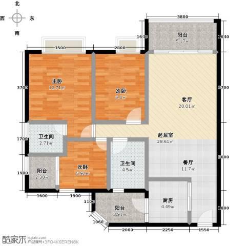 利海假日轩3室0厅2卫1厨98.00㎡户型图