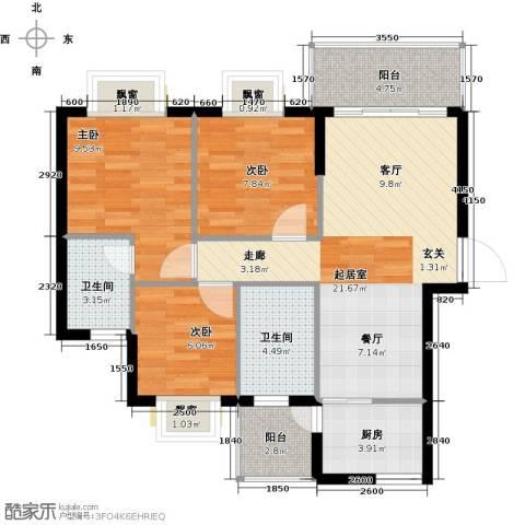 九龙1号3室0厅2卫1厨91.00㎡户型图