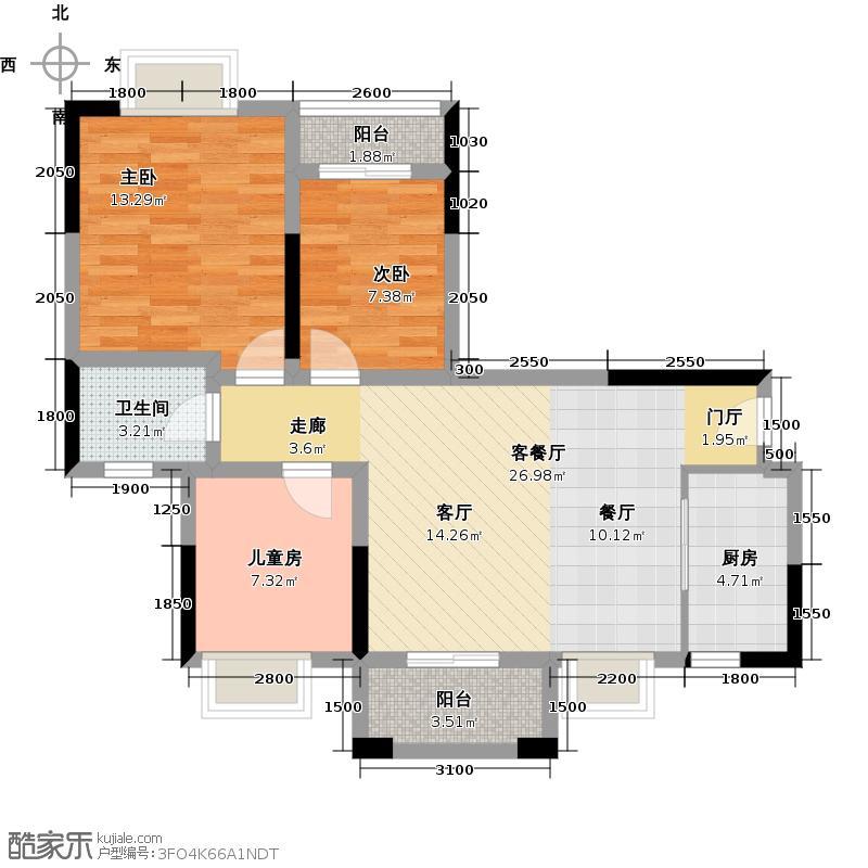 虎门国际公馆79.57㎡户型3室1厅1卫1厨