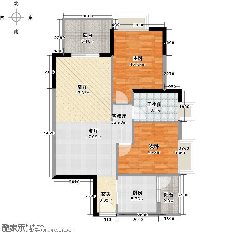 观海美寓85.36㎡6栋标准层01单位户型2室1厅1卫1厨