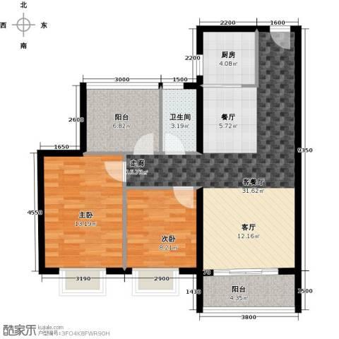 海逸锦绣誉峰2室1厅1卫1厨90.00㎡户型图