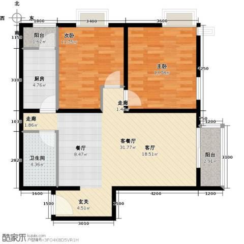 优品国际公寓2室1厅1卫1厨98.00㎡户型图