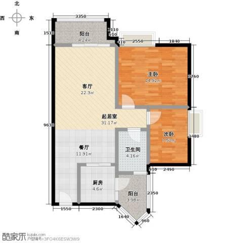 利海假日轩2室0厅1卫1厨80.00㎡户型图