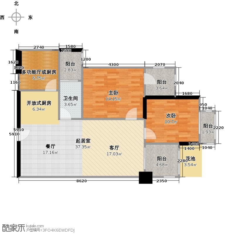 富基广场93.57㎡B1栋8-44层06户型2室1卫