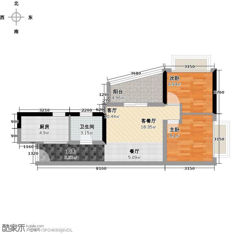 置业广场54.57㎡户型2室1厅1卫1厨