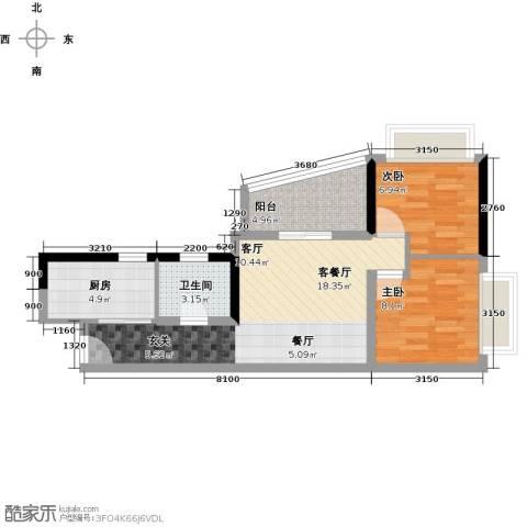 置业广场2室1厅1卫1厨68.00㎡户型图