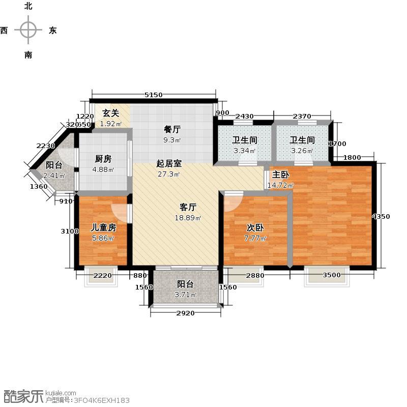 岭南新世界99.00㎡A6栋锦裕03/08户型3室2卫1厨