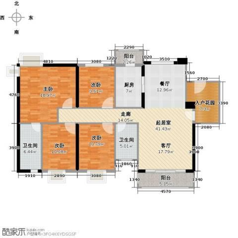 石竹山水园4期4室0厅2卫1厨173.00㎡户型图