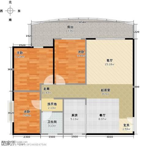 御庭苑3室0厅1卫1厨116.00㎡户型图