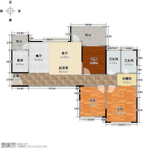 中信凯旋国际3室0厅2卫1厨133.00㎡户型图