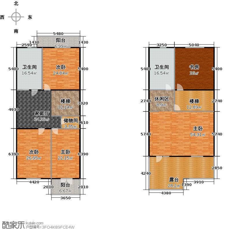 高教新城294.87㎡C二和三层户型5室2卫