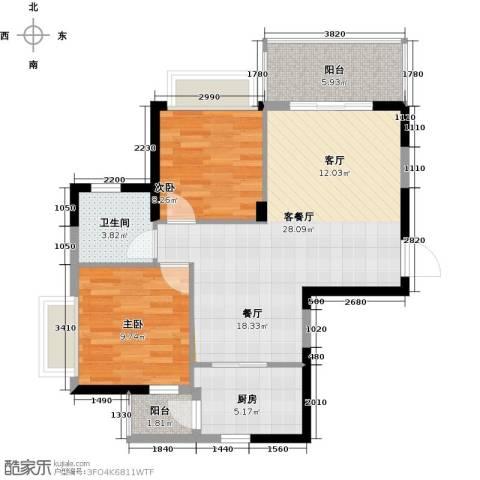 锦绣御景国际2室1厅1卫1厨77.00㎡户型图