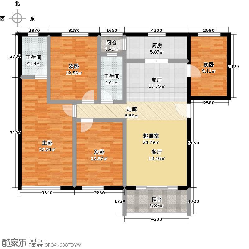 祈福新村122.55㎡24栋2/F-01户型4室2卫1厨