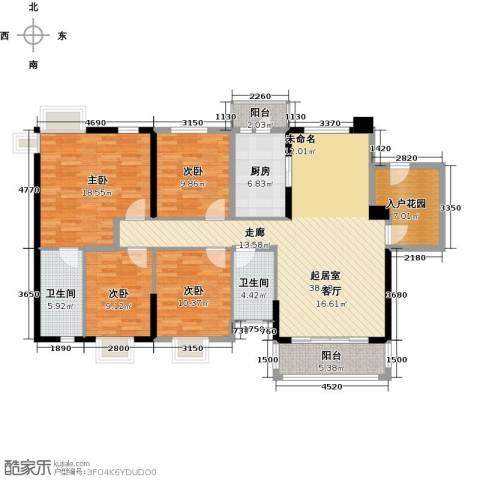 石竹山水园4期4室0厅2卫1厨167.00㎡户型图