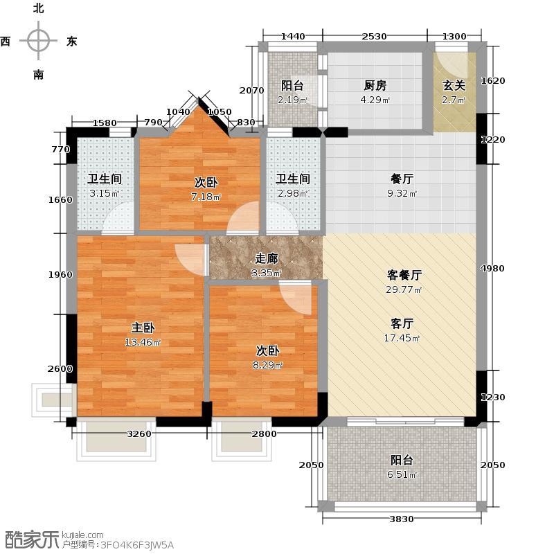 翠亨豪园88.42㎡6栋户型3室1厅2卫1厨