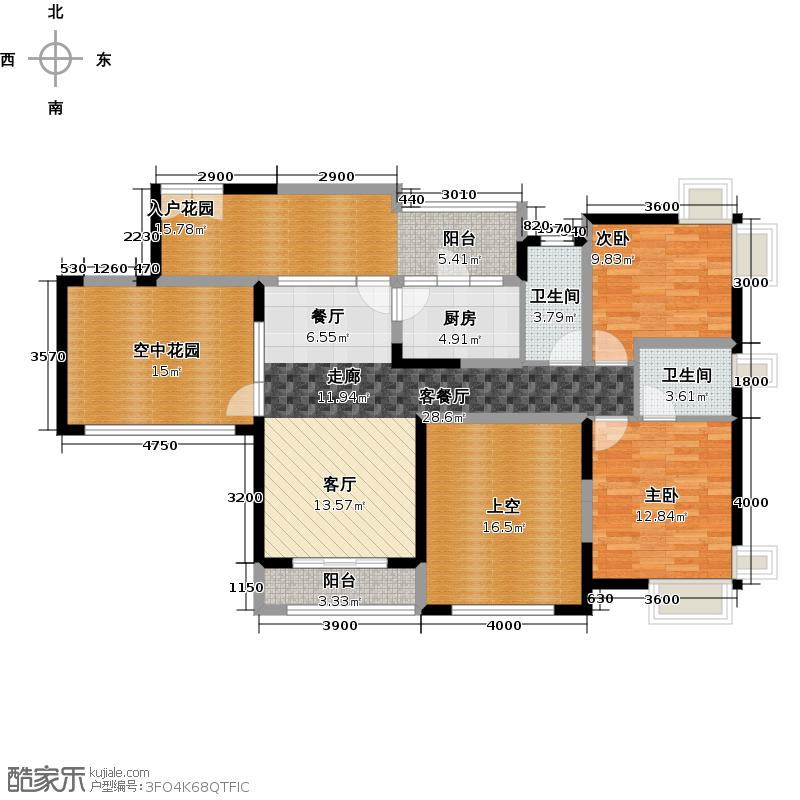 新世纪星城三期131.05㎡F3单数层户型2室1厅2卫1厨