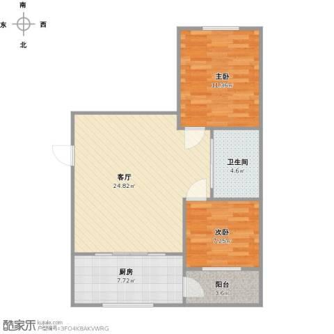 水御林溪2室1厅1卫1厨63.91㎡户型图