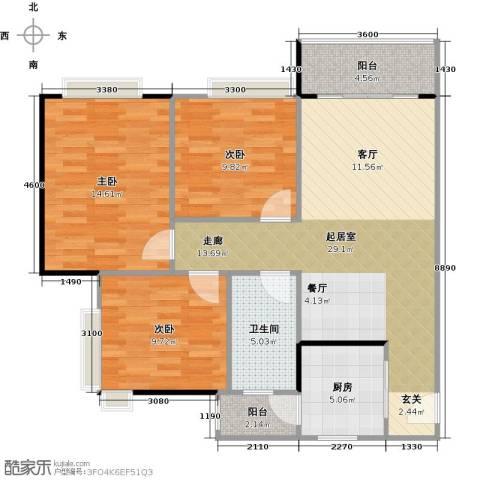 城蕊首府3室0厅1卫1厨108.00㎡户型图