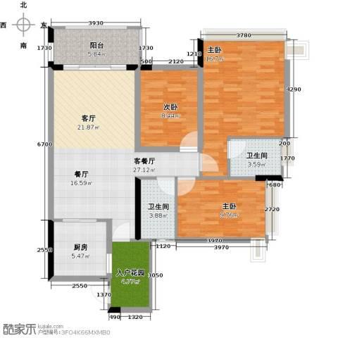 雅居乐御宾府3室1厅2卫1厨105.00㎡户型图